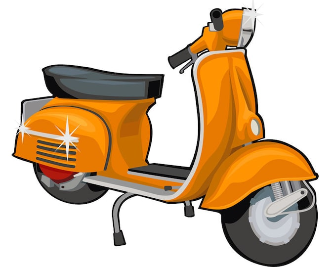 Scooter clip art- vespa art, vintage vespa illustration, royalty free clip art, INSTANT DOWNLOAD