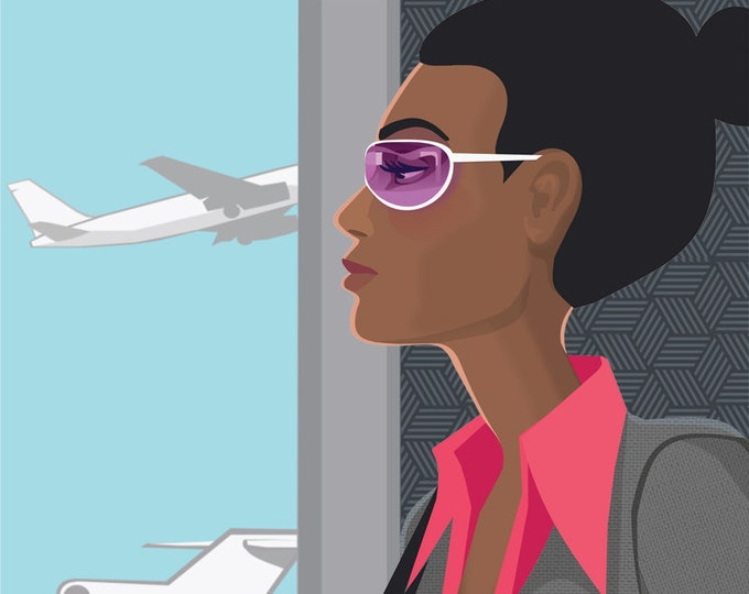Woman at airport clip art- business woman, travel, work, African American, illustration, editorial, royalty free, INSTANT DOWNLOAD