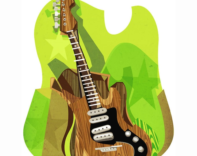 Cubist guitar clip art- guitar illustration, music, editorial, cubism, art history, rock and roll, poster, royalty free, INSTANT DOWNLOAD