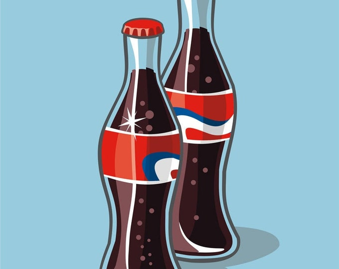 Soda bottle clip art- soda pop illustration, food and drink, restaurant, cola, pop art, royalty free, INSTANT DOWNLOAD