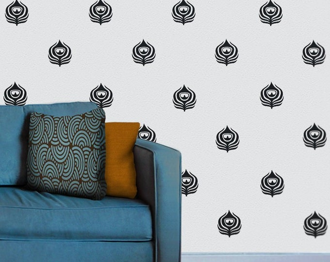 Peacock feathers wall decal pattern set, art deco wall decor, mid century decor, living room decor