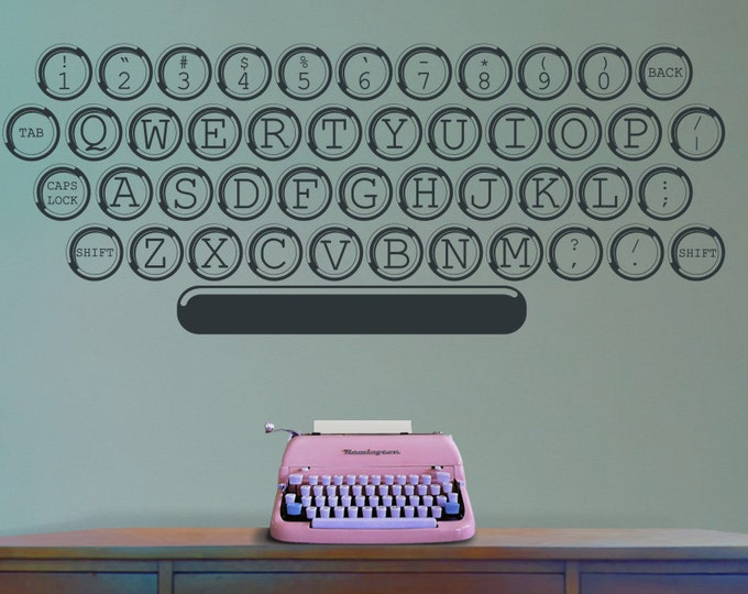 vintage typewriter vinyl wall decal, office decor, author wall art, home work station art