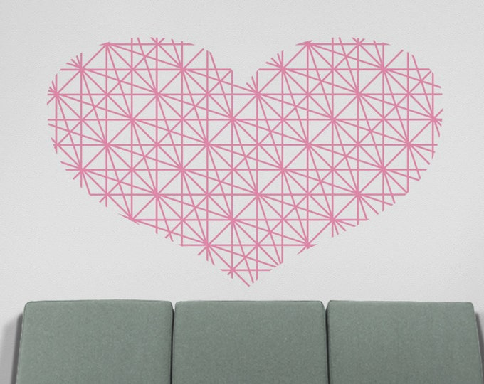 heart wall decal, geometric heart wall decor, love wall sticker, modern style heart decor, modern home love decor, unique home
