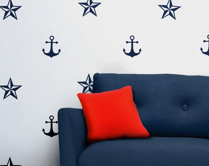 Navy blue anchor wall decals, nautical star, wall sticker, sailor art, nautical motif, living room decor, beach house, maritime art