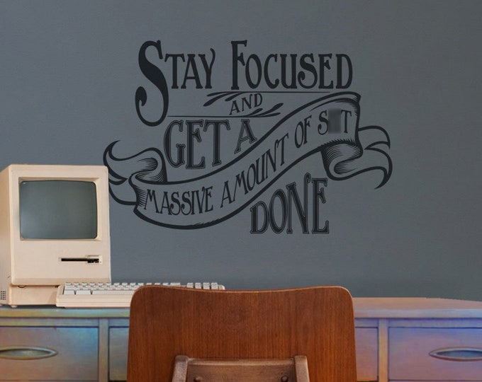 Motivational quote wall decal- office art, victorian design, home office decor