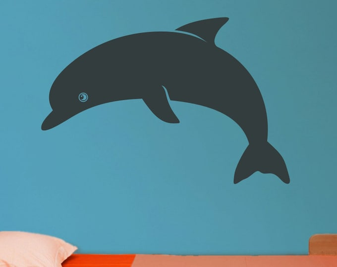 dolphin vinyl wall decal, ocean animal sticker art, child wall art, FREE SHIPPING