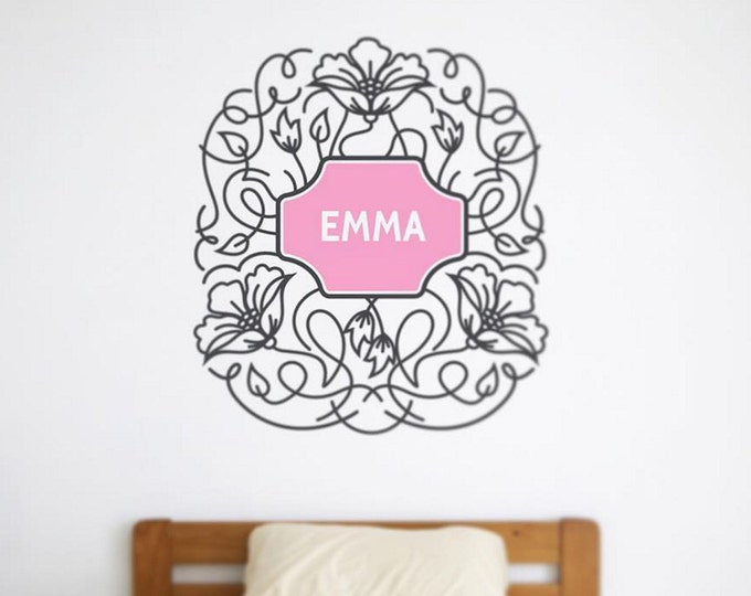 personalized floral wall decal, ornate flower wall art, nursery decor, FREE SHIPPING