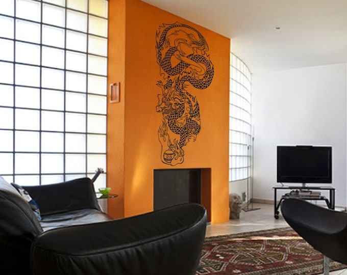 chinese dragon wall decal, dragon sticker art, tattoo dragon vinyl wall decal, FREE SHIPPING