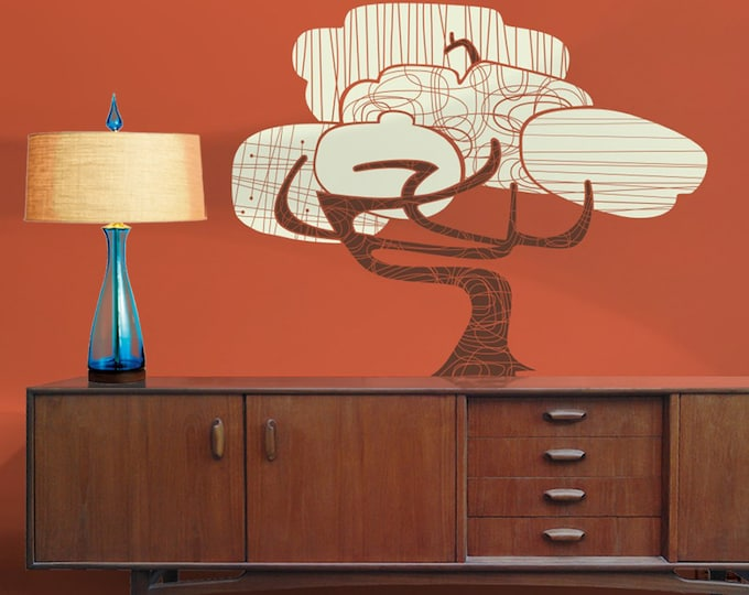 mid century modern tree wall decal, vintage style decor, bonsai tree art
