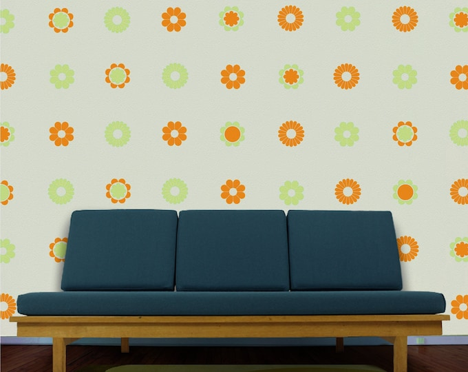 flower pattern wall decal set, 60s and 70s inspired flower decor, vintage style floral stickers, mod decor