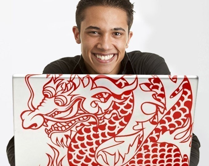 chinese dragon laptop decal, custom fit dragon laptop decal, dragon tattoo sticker, traditional tattoo dragon, dragon art