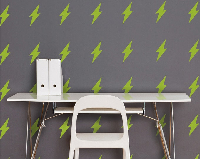 lightning bolt wall decal set, lightning bolt pattern stickers, thunder decor, lightning art, rock and roll decor, retro art, vintage decor