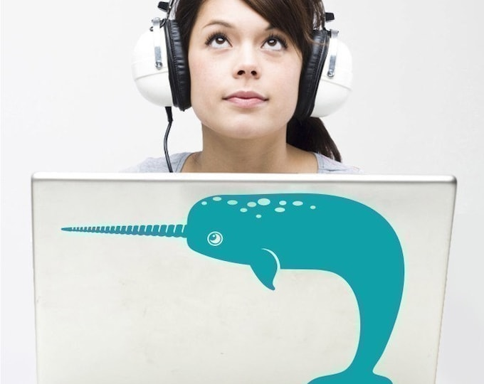 narwhal laptop decal, narwhal macbook decal, geekery, sticker art, computer sticker