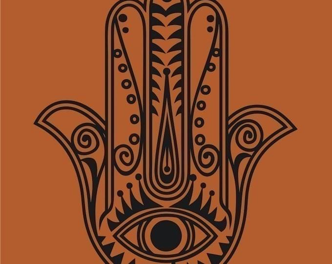 hamsa wall decal sticker, vinyl art, traditional art, evil eye art, yoga hamsa, FREE SHIPPING