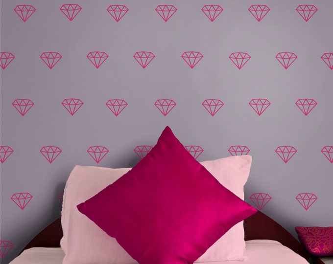 Diamond wall decal- diamond pattern,  gemstone wall stickers, jewel art, precious stones, bedroom decor, gift for girls, teen girl, bling