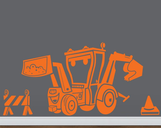 construction equipment Backhoe vinyl wall decal,  Cartoon backhoe sticker, FREE SHIPPING