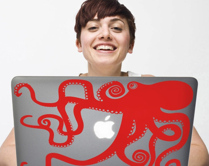 Red Octopus laptop decal- octopus macbook sticker, pc sticker art, computer decal