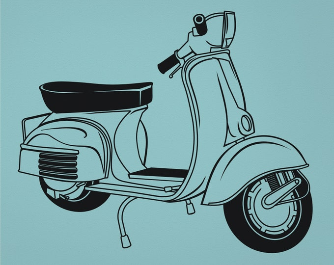 vespa wall decal, vintage scooter wall sticker, illustrated vespa art, 60s retro vespa art, urban decor, italian scooter art