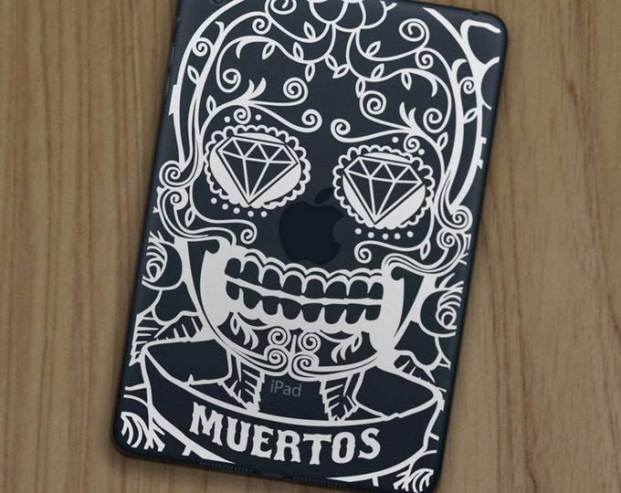 day of the dead iPad decal for iPad and iPad mini, sugar skull sticker, dia de los muertos decal, mexican skull tablet decal