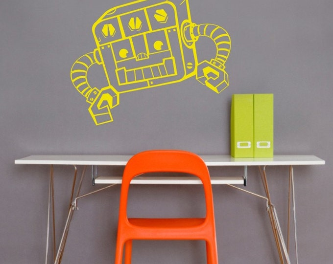 robot wall decal, vinyl walll sticker art- REDDY robot, FREE SHIPPING