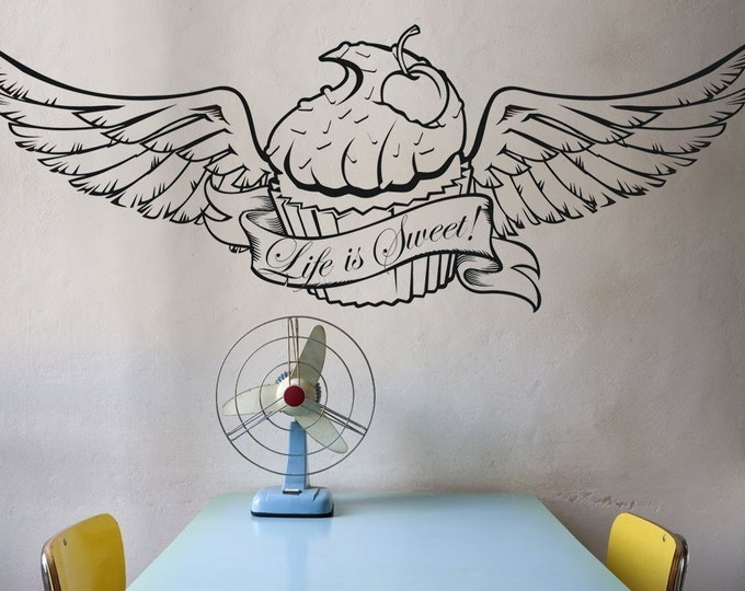 winged cupcake vinyl wall decal with customizable banner