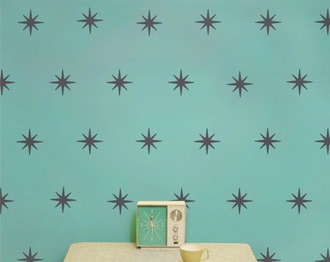 starburst mid century wall decal set, star pattern wall decals, starburst vinyl stickers, coronata star decals, 50s design