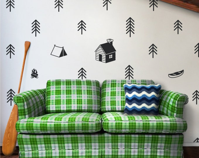 cottage outdoors wall decal set, forest art, cabin art, FREE SHIPPING