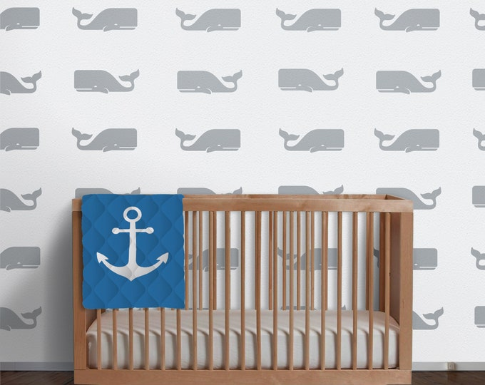 Whale pattern wall decal- whale motif, nautical art, animal art, undersea art, nursery decor, bedroom decor, whale stickers