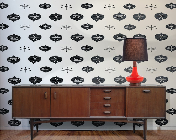 Mid century modern wall decal pattern set, mid century abstracts, geometric wall sticker art, mcm inspired decor