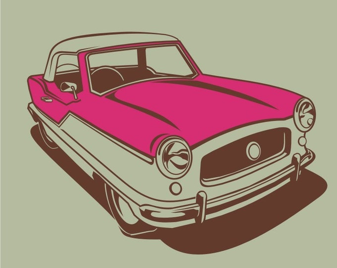 vintage auto wall decal art- nash metropolitan art, mid century car sticker, FREE SHIPPING