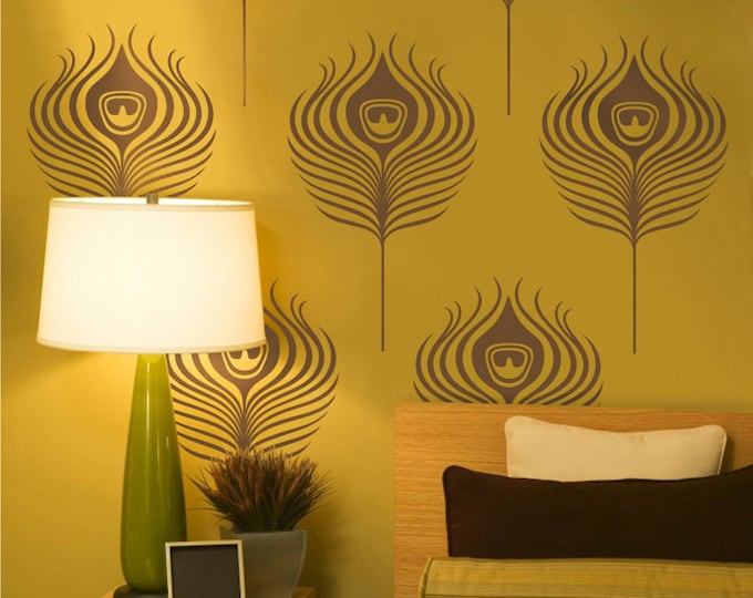 peacock feathers wall decals, art deco vinyl wall art set, vintage peacock wall cling, FREE SHIPPING