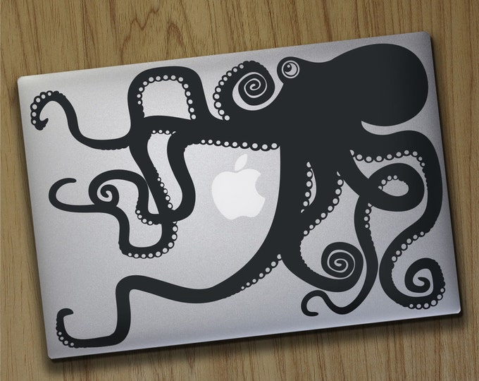 Octopus macbook decal- laptop sticker, tentacles decal, illustrated octopus design, octopus laptop sticker, sea animal art, animal sticker