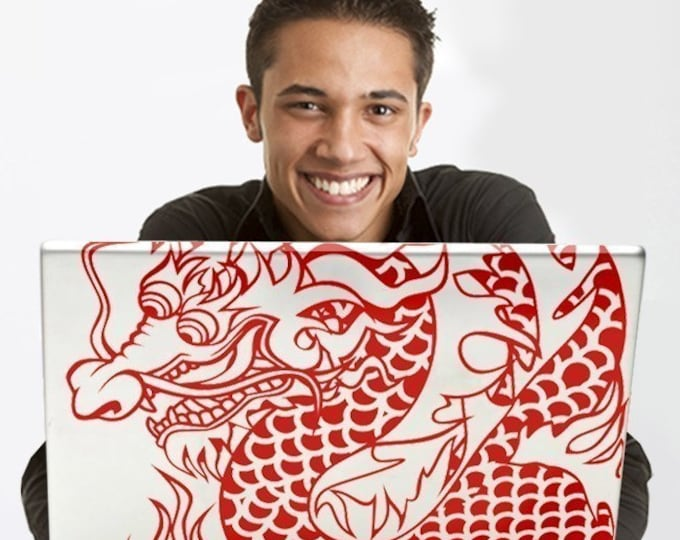 chinese dragon laptop decal, custom fit laptop decal, dragon tattoo decal, FREE SHIPPING