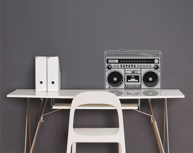 boombox vinyl wall decal, 80s wall sticker, retro art, music lover art, FREE SHIPPING