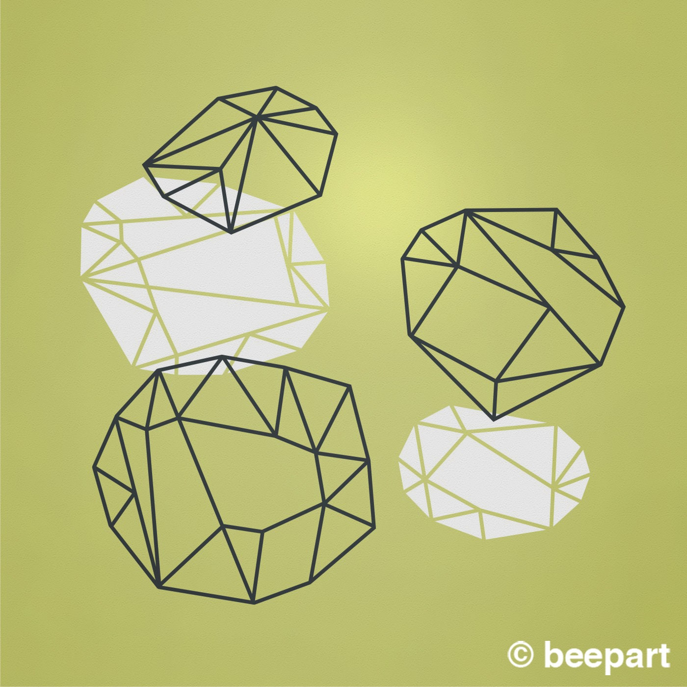 geometric crystals wall decals, geometric abstract decals, geometric ...