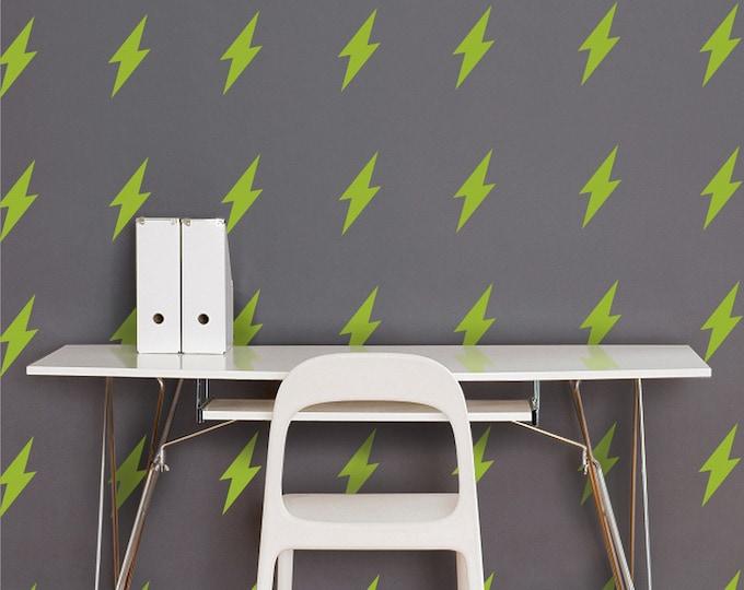 lightning bolt wall decal set, lightning bolt pattern stickers, thunder decor, lightning art, rock and roll decor, retro art,  FREE SHIPPING