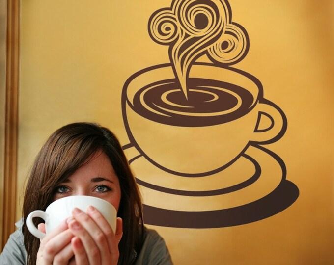coffee cup vinyl wall decal, coffee sticker, mid century, vintage diner art