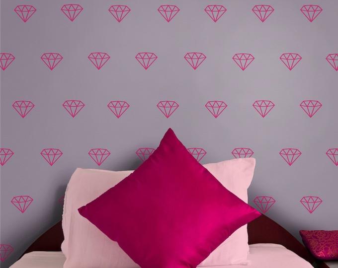 Diamond wall decal- diamond pattern,  gemstone wall stickers, jewel art, precious stones, bedroom decor, gift for girls, teen girl, bling