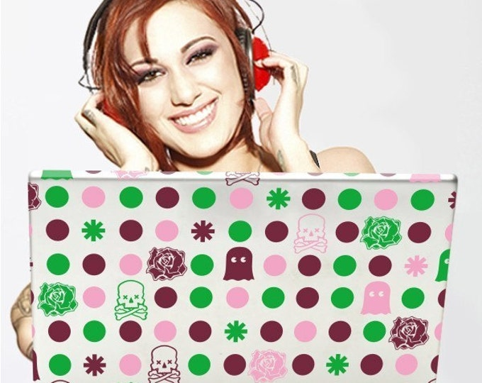 polka dots laptop decal, polkda dot decal art, FREE SHIPPING