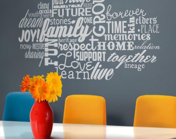 custom word cloud vinyl wall decal, personalized wall sticker art