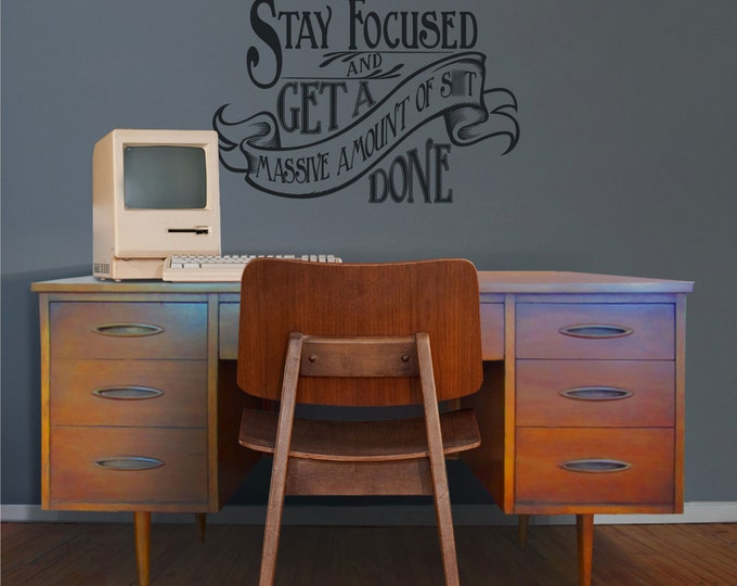 motivational quote wall decal, office vinyl sticker art- WARNING cuss word present, victorian, art nouveau, get shit done, FREE SHIPPING