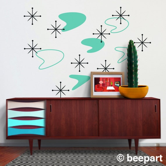 boomerang mid century wall decal set starburst wall decals   etsy