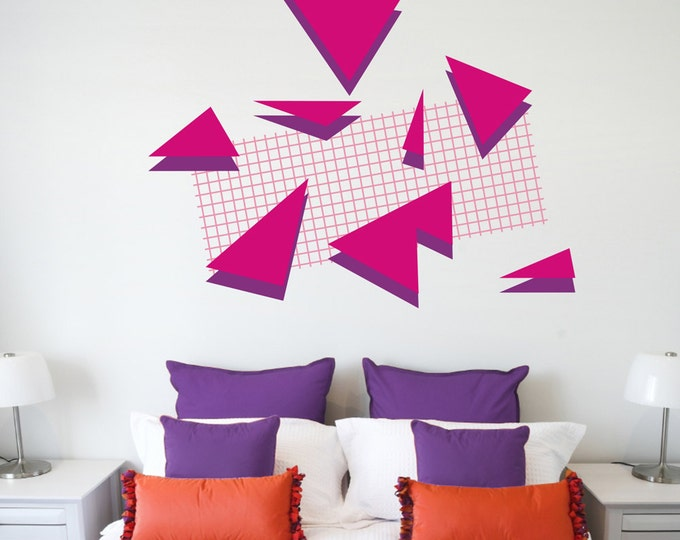 80s retro wall decal set, geometric memphis group style vinyl wall decals