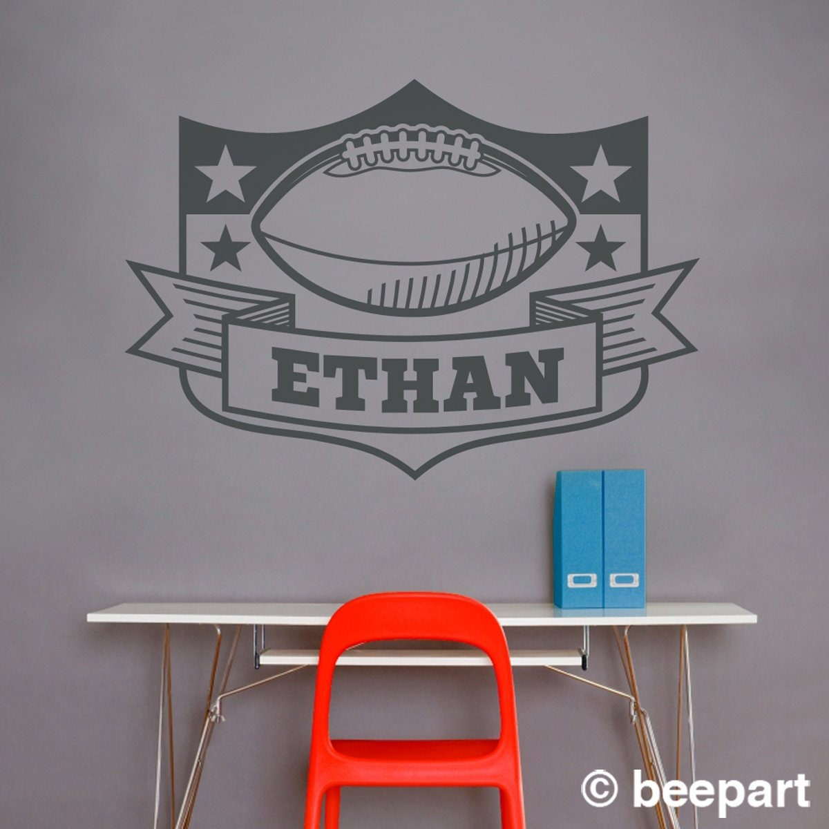 Bedroomsports.com Part - 16: personalized football wall decal, custom sports sticker, bedroom sports  decor
