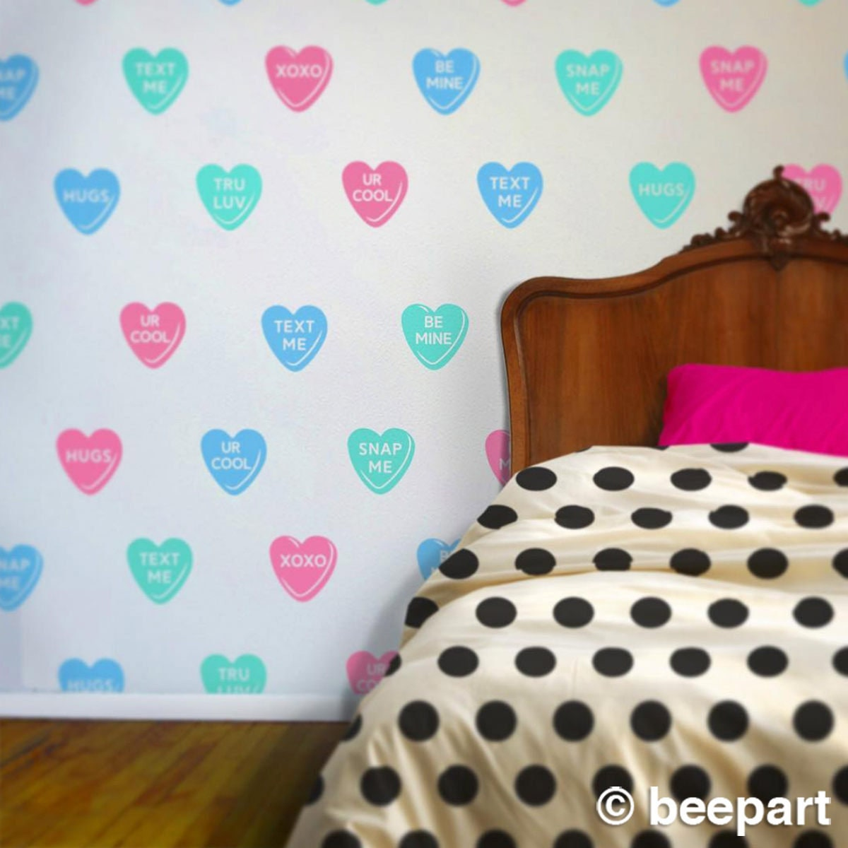 candy hearts wall decal set, sweet hearts vinyl wall ...