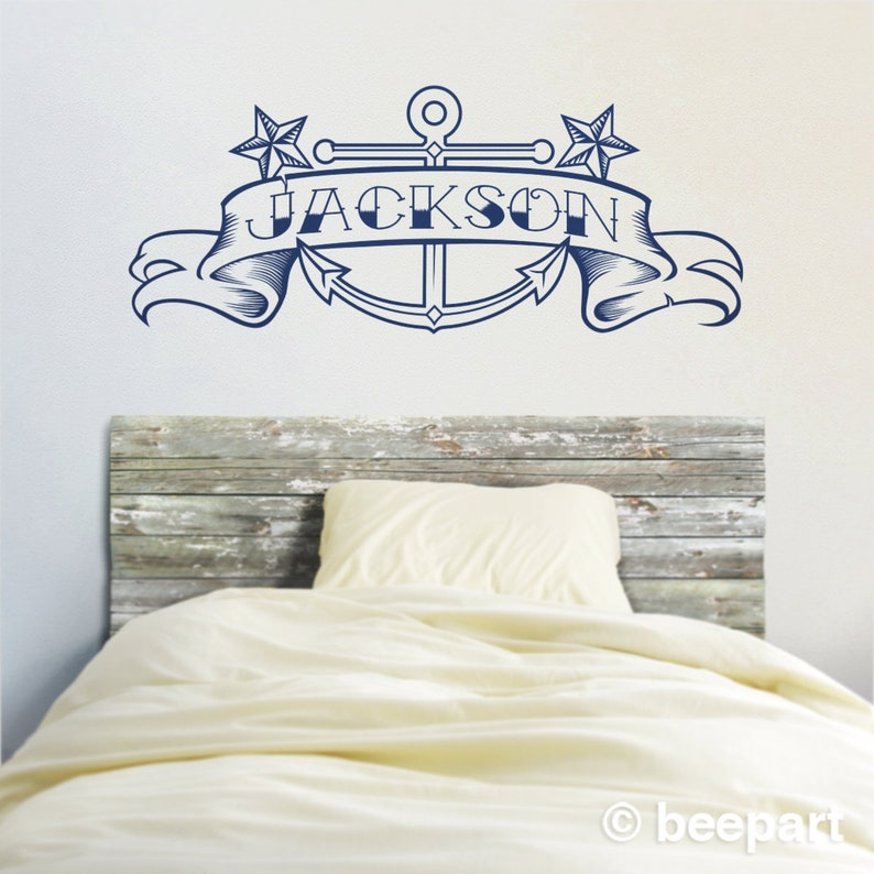 anchor wall decal custom name decal custom banner decal | etsy