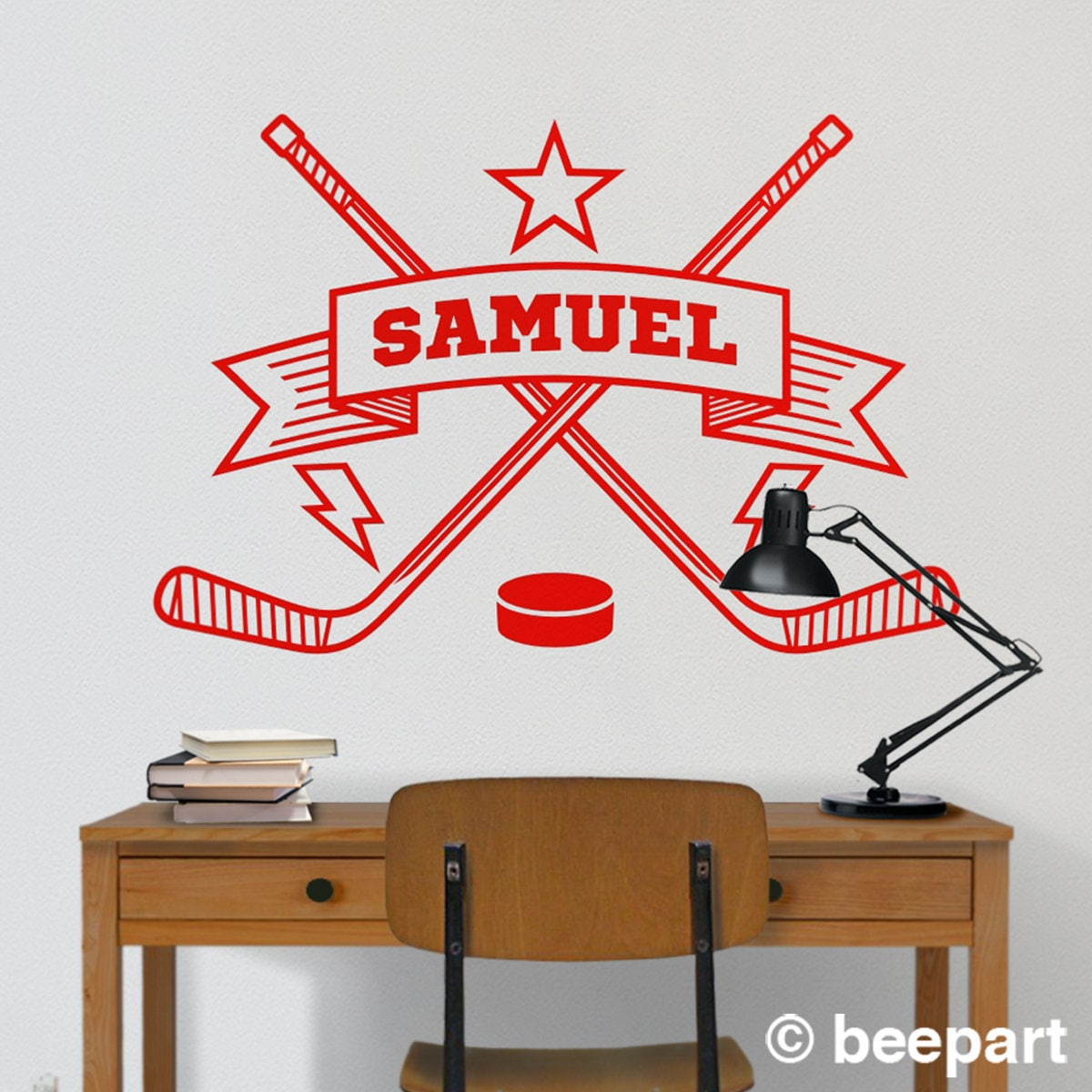 Bedroomsports.com Part - 20: personalized hockey wall decal, custom sports sticker, ice hockey decor, bedroom  sports decor