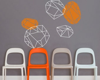 geometric wall decal vinyl art set, abstract art, geometric crystals wall sticker art, FREE SHIPPING