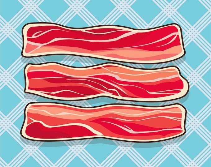 Bacon clip art- bacon illustration, food and drink, meat art, restaurant, pork art, breakfast art, royalty free, INSTANT DOWNLOAD