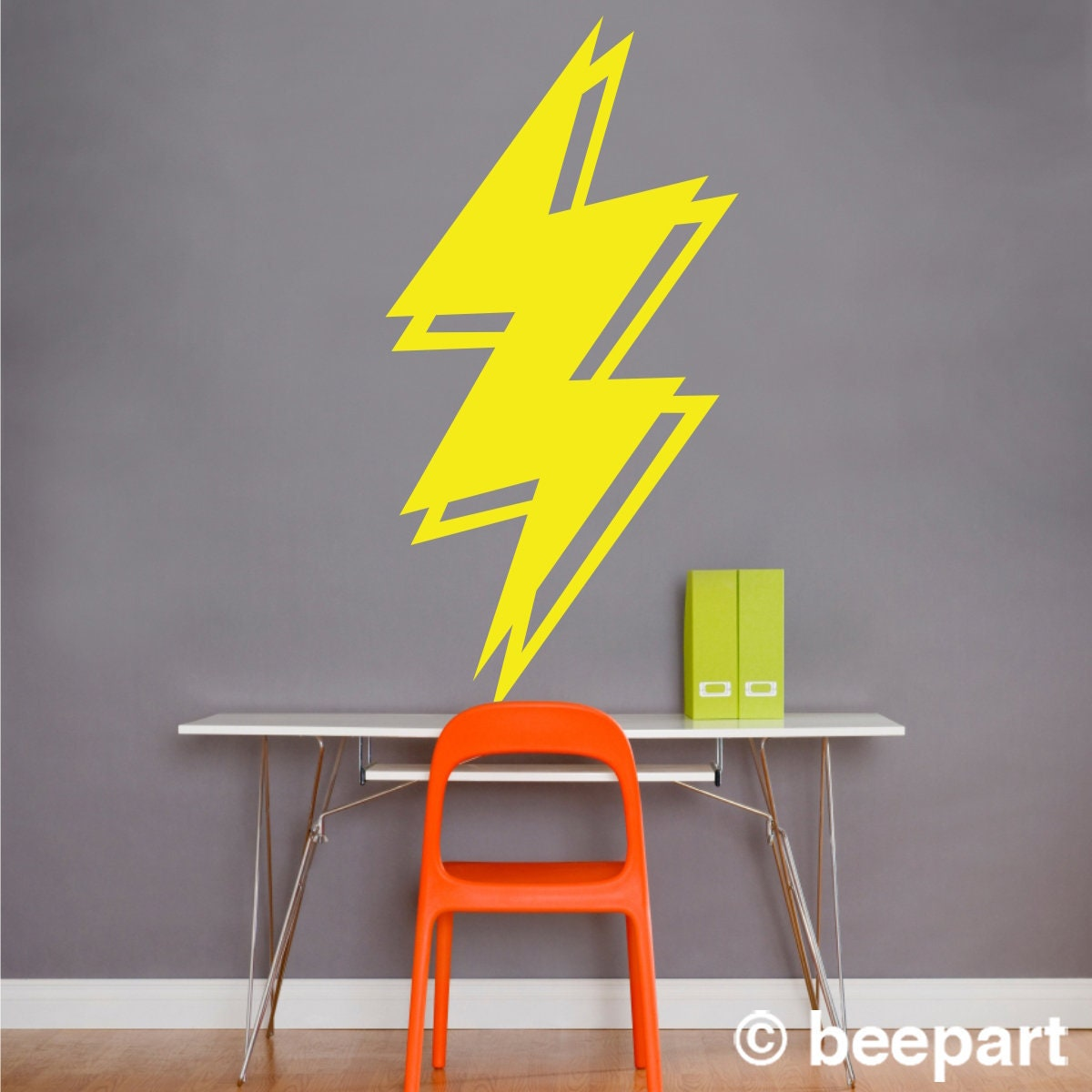 lightning bolt wall decal, lightning sticker art, thunder art decal ...